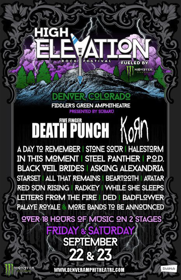 High Elevation Rock Festival: Five Finger Death Punch, Korn, A Day To Remember & Stone Sour - 2 Day Pass at Fiddlers Green Amphitheatre